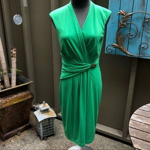 Ellen Tracy bright green wrap dress gold emblem